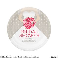 Bridal shower wedding dress custom paper plates 7 inch paper plate
