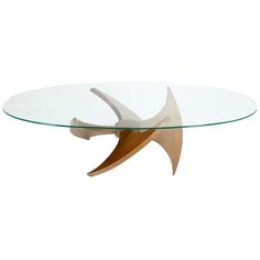 Mid Century Modern Walnut Propeller Base Oval Coffee Table With Glass Top