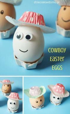 cowboy easter eggs / pisanki cowbojki - pomysł na wielkanocne jaja - Basteln mit Kindern Easter Eggs Kids, Easter Egg Crafts, Easter Bunny, Easter Party, Easter Gift, Egg Art, Egg Decorating, Crafts For Kids, Easter Crafts