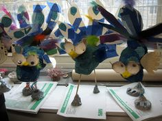 Color, collage, and much more: Paper Mache Peacocks