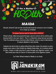 For a Better Health - Most us have consistent and healthy food habits, and Let us know the reasons behind them. For coming weeks there are more healthy info to come. stay tuned with us.  Follow us on Facebook - /srijanakiram #Srijanakiram #Forabetterhealth #maida #wheat