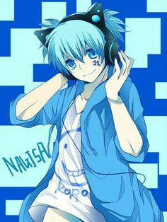 Shiota Nagisa, text, headphones, cat, ears, neko; Assassination Classroom