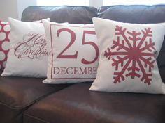 Red Snowflake Pillow Cover/ Merry Christmas/ by polkadotpears