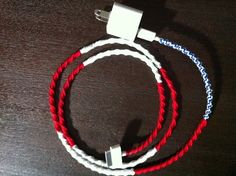 NEW Wrapped iPhone Power/Sync Cord Red White and by Richcrafter, $20.00