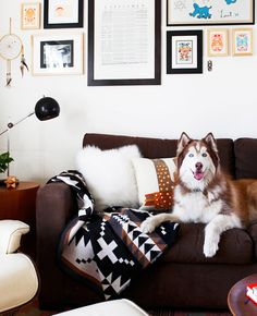 A cozy corner photographed by Laure Joliet. Love the Native American accents, plus the dog is gorgeous!