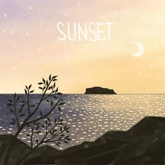 #sunset #sea #seasunset #jeju #landscape #moon #illust #일러스트 #노을 #바다노을 #제주도 #제주바다 #풍경화 Jeju Island, Anime Scenery, Korea, Draw, Mood, Sunset, Illustration, Movie Posters, Pictures