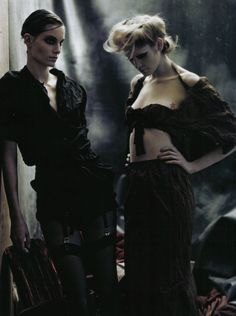 Iris Strubegger and Heidi Mount in 'In a Poetic Mood'  Photographer: Paolo Roversi  Clothes: Prada S/S 2009  Vogue Italia April 2009