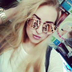 ROSE GOLD Newest Brand Designer Cat Eye Mirror Sunglasses Women Twin-Beams Stylish Lady Flat Plane New UV400 Fashion Sun Glasses Hot