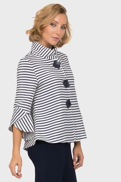 Joseph Ribkoff Navy/Off-White Jacket Style 191917 Fashion Now, Fashion Wear, Off White Jacket, Joseph Ribkoff Dresses, Casual Tops For Women, Dress Sewing Patterns, Long Tops, Jacket Style, Cool Outfits