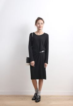 Rib Knit Dress With Faux Leather Buckle  $44.47 USD