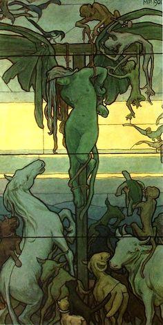 Maximilian Pirner. Homo homini lupus. Projet pour un vitrail. Aquarelle, 1901.