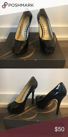 Open Toe Patent Leather Pumps