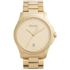 Men's Gucci Round Bracelet Watch, 38Mm ($980) ❤ liked on Polyvore featuring men's fashion, men's jewelry, men's watches, gold, men's blue dial watches, mens watches jewelry, mens watch bracelet, mens watches and mens gold watches