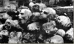 Cabezas de armenios cristianos decapitados durante el Genocidio que comenzó el 24 de abril de 1915 en el Imperio Islámico Otomano.Un millón y medio de vidas de vidas armenias que se perdieron durante el Genocidio de la Primera Guerra Mundial a manos de los turcos