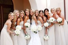 floor length champagne bridesmaid dresses. so perfect