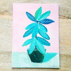 Plants on Pink No. 1 - an original acrylic painting, plants painted on a pink background door XantheCS op Etsy