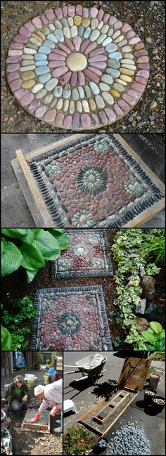 Ever wanted to have pebble mosaic stepping stones in your garden? This beautiful… Ever wanted to have pebble mosaic stepping stones in your garden? This beautiful. Mosaic Stepping Stones, Pebble Mosaic, Stone Mosaic, Mosaic Diy, Rock Mosaic, Decorative Stepping Stones, Garden Stones, Garden Paths, Garden Art