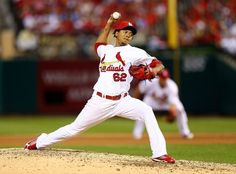 Carlos Martinez pitches in the eighth inning against the Pittsburgh Pirates during Game 1 of the NLDS. Cards won the game 9-1.  10-03-13
