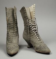Boots: ca. 1890, American, suede, leather, cut steel beads.