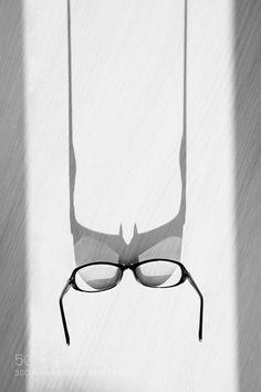 Hiding Batman - Pinned by Mak Khalaf Abstract abstractbatmanblack and whiteglasslightminimalismshadowtable by kseniaegorova