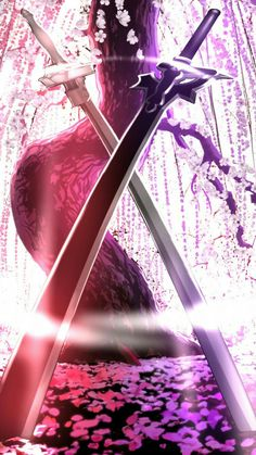 Kirito and Asuna Sword - Elucidator and Lambent Light - Sword art Online. Kirito Wallpaper, Sword Art Online Wallpaper, Iphone Wallpaper, Locked Wallpaper, Kirito Asuna, Kirito Sword, Sword Art Online Kirito, Espada Anime, Sao Ggo