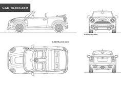 MINI Cooper Convertible CAD Block Cooper Car, Mini Cooper Convertible, Cad Blocks, Cad Drawing, Autocad, Vehicles, Car, Vehicle, Tools