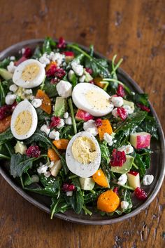 Epic Winter Salad! Gorgeous colors - emerald, ruby, and gold - and a juxtaposition of savory and sweet - the perfect winter celebration! Vegan, dairy-free, vegetarian, or meat options.