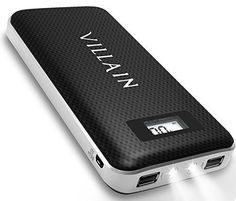 Villain - Portable Backup Battery Phone Charger - with Built in LED Flash Lights and LED Display - External Battery Pack with Dual USB Ports - Ideal Power Bank for iPhones, Androids, & Portable Battery, Portable Charger, Ds Xl, Bad Room Ideas, Ios, Optima Battery, Car Cleaning Hacks, Audio, Phone Charger