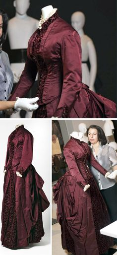 Dress ca. 1875-85. Two-piece dress consisting of a bodice and a skirt in burgundy duchess satin with inserts of cut velvet in a geometric and floral pattern. National Museum of Australia