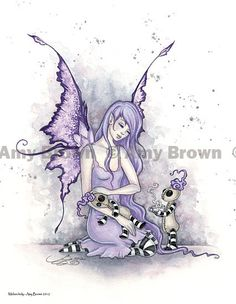SALE Melancholy 8.5x11 Fairy and ragdolls Print by by AmyBrownArt, $9.00 Would like to make crochet version of the rag doll