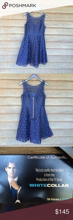 White Collar TV show authentic wardrobe Navy Blue polka dot Betsey Johnson Dress worn in the production of White Collar! Comes with Certificate of Authenticity. Betsey Johnson Dresses Midi