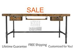 Modern Reclaimed Wood Desk with pipe legs by UrbanWoodGoods, $445.00 (@$1,000 for counter height)