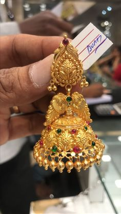 Sparkling Fashion: Gold Jhumka Earring designs latest 2019/ Gold buttalu