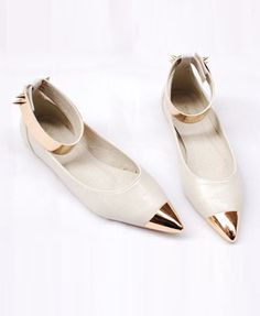 Vintage Point Flat Shoes with Metal Toe Cap LOVE LOVE LOVE LOVE