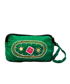 Green Color Embroidered Party Clutch  #ohnineone