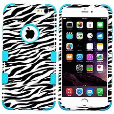 "myLife 2 Layered Protection Hybrid Bumper Case for iPhone 6 Plus (5.5"" Inch) by Apple { Black + Teal "" Zebra Design"" Three Piece SECURE-Fit Rubberized Gel} myLife Brand Products http://www.amazon.com/dp/B00P9OSO5K/ref=cm_sw_r_pi_dp_0a5yub0Y97J6P"