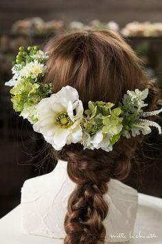 アネモネ ホワイト×グリーン ヘッドドレス(5p) | Online store – ミルラシュエット
