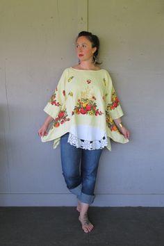 X Large 1 X upcycled clothing Linen Lagenlook tunic top summer French shabby shirt Eco Boho oversize tunic by LillieNoraDryGoods