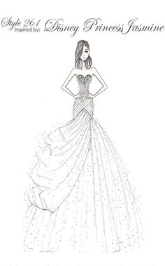 Jasmine inspired wedding dress sketch from the 2016 Disney Fairy Tale Weddings by Alfred Angelo Collection