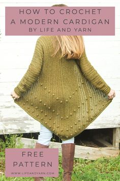 Stunning and Fun Free Crochet Cardigan Pattern! This Modern and Chic Crochet Pattern will be your new favorite make! Crochet Cardigan Pattern, Crochet Jacket, Crochet Shawl, Crochet Vests, Crochet Sweaters, Modern Crochet Patterns, Summer Patterns, Sewing Patterns, Crochet Gratis
