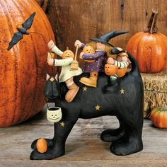 Witch Family Riding Cat Halloween Figurine