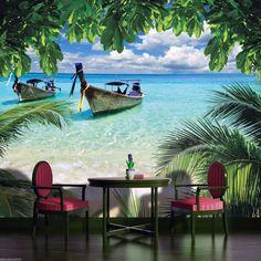 Fototapete Karibik mit Strandboot Motiv