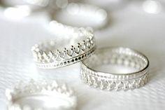 SALE Queen's Crown sterling silver stack ring. by Eklektisch