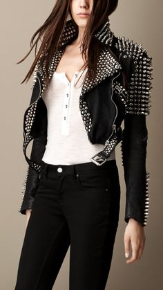 Multi-Stud Cropped Leather Biker Jacket | Burberry