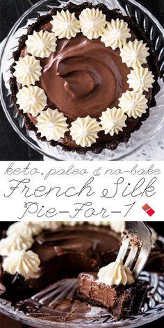 Paleo, Vegan & Keto French Silk Pie For-1 No-Bake & Ultra-Chocolatey! #keto #ketodesserts #healthyrecipes #paleo