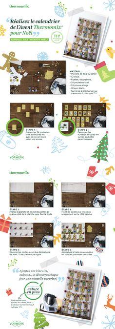 Réalisez votre calendrier de l'Avent Thermomix pas-à-pas avec le tuto. Un calendrier 100% fait-maison pour Noël
