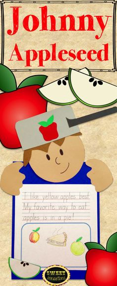 Cute craft activity for Johnny Appleseed.  Could use it for graphing results of favorite apples or favorite ways to eat apples.