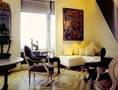 An American Design Legend: Mark Hampton Interior Design Blogs, Beautiful Interior Design, Beautiful Interiors, American Interior, French Interior, Corner Sectional, Geometric Rug, Painted Floors, Floor Decor