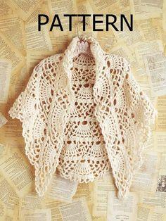 PATTERN collar crochet necklace scarf cape poncho shawl fall winter women