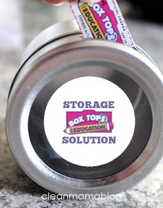 Genius! Use a magnetic spice container to house all those box tops you have been saving! Source included. Box Tops Storage Solution via Clean Mama